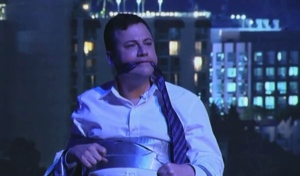 Jimmy Kimmel tied up by Matt Damon on an episode of his show, Thursday Jan. 24, 2013.