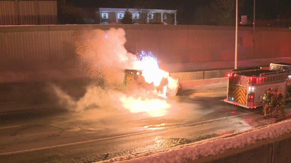 Highway 20 Westbound was closed in the early hours of Jan. 25, 2013 after an ambulance hit a car. The vehicle then caught fire and exploded.