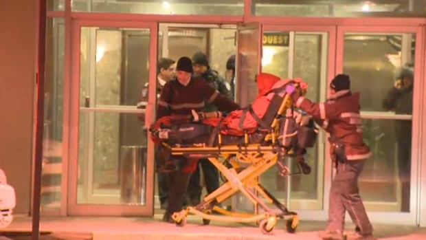 shooting victim on stretcher