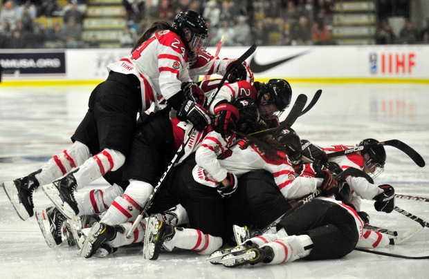 Team Canada celebrates gold medal game April 2012