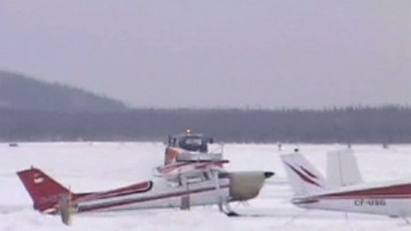 Planes are seen grounded at Happy Valley - Goose Bay, Labrador, Canada.