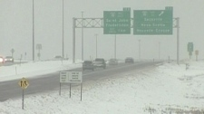 Reduced visibility on provincial highways in N.B. can be seen in this undated photo.