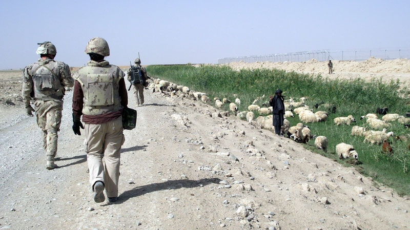A Canadian patrol passes a local sheep herder during a visit to a farm in Afghanistan on Thursday Sept. 9, 2010. (Dene Moore / THE CANADIAN PRESS)
