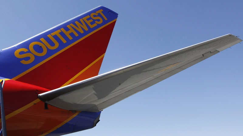 In this March 14, 2010, a Southwest Airlines plane is shown at Bob Hope Airport in Burbank, Calif. (AP Photo/Paul Sakuma)