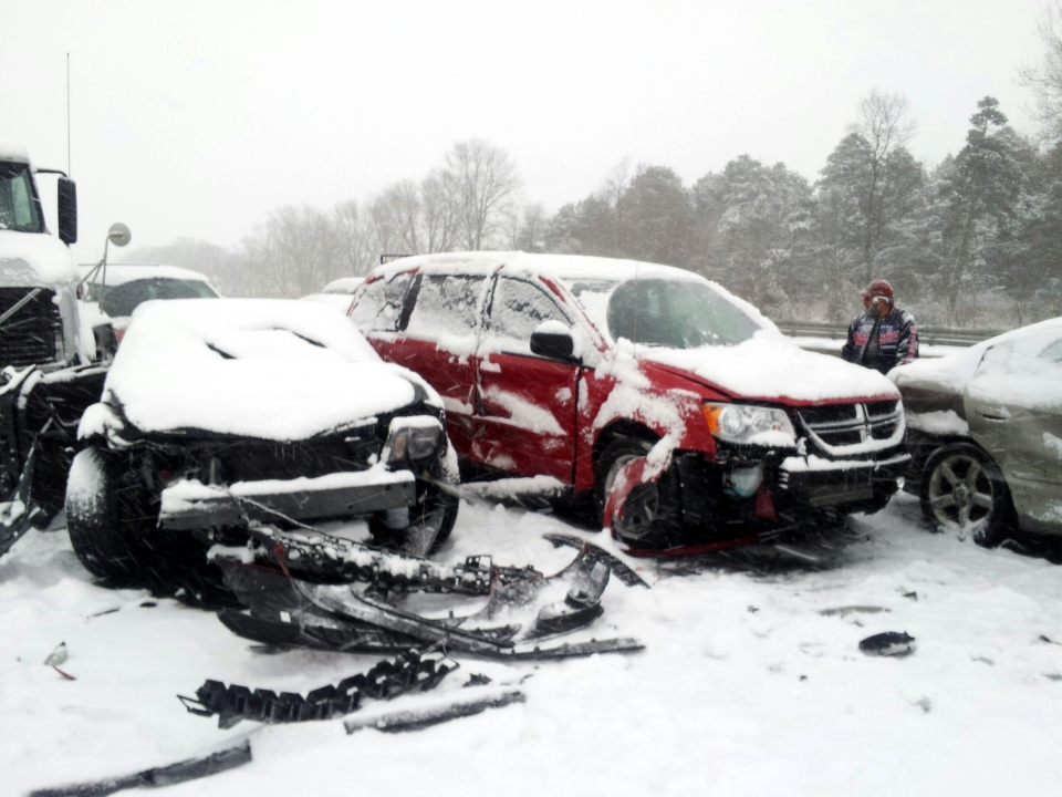 Drivers were faced with a chaotic afternoon commute, when a multi-vehicle collision on Highway 401 in Newcastle, Ont. led to a closure of the busy highway, Friday, Jan. 25, 2013. (Dave Parsons / CTV News)
