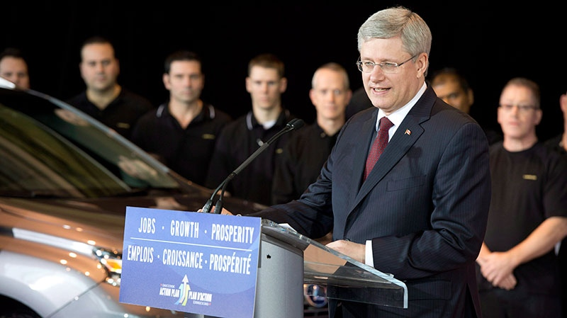 Prime Minister Stephen Harper speaks at the Toyota automotive plant in Cambridge, Ontario on Wednesday, Jan. 23, 2013. (Frank Gunn / THE CANADIAN PRESS)