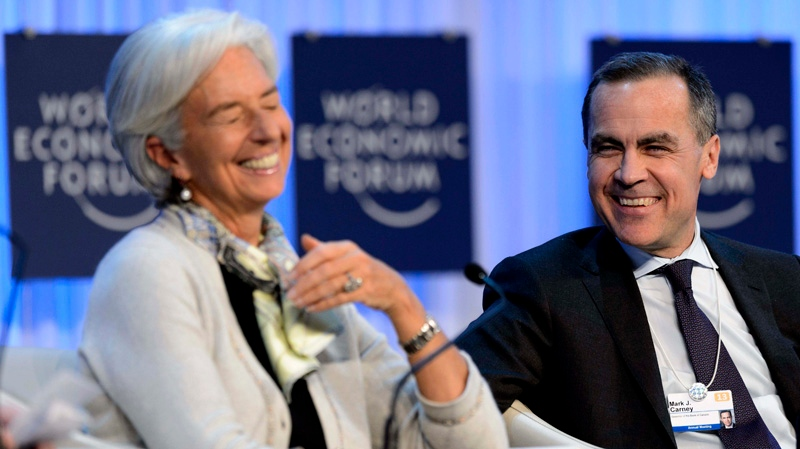 Mark J. Carney, right, Governor of the Bank of Canada and Managing Director of the International Monetary Fund (IMF) France's Christine Lagarde, left, laugh during a panel session at the 43rd Annual Meeting of the World Economic Forum, WEF, in Davos, Switzerland, Saturday, Jan. 26, 2013. (AP / Keystone / Laurent Gillieron)