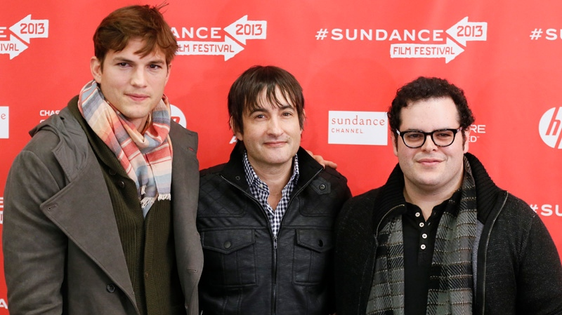 From left, actor Ashton Kutcher, who portrays Steve Jobs, director Joshua Michael Stern, and actor Josh Gad, who portrays Steve Wozniak, pose together at the premiere of 'jOBS' during the 2013 Sundance Film Festival on Friday, Jan. 25, 2013 in Park City, Utah. (Danny Moloshok / Invision)