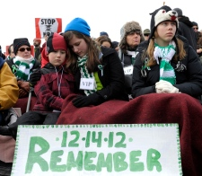 Newtown residents march in gun control rally