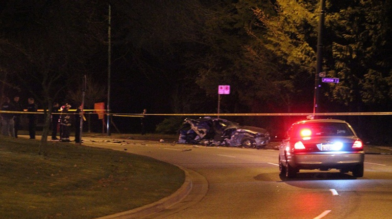 The wreckage of a fatal crash on Cambie Street, Jan. 26, 2013. (Photo credit: Shane MacKichan)