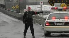 Heavy trucks have been temporarily banned from heading outbound on the Mercier Bridge. (CTV Montreal)