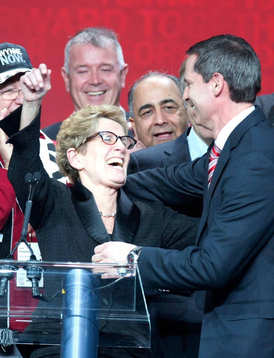 Premier Dalton McGuinty, right, congratulates Kathleen Wynne after Wynne becomes the new leader of the Ontario Liberal party at the Ontario Liberal Leadership convention in Toronto on Saturday, January 26, 2013. (Frank Gunn / THE CANADIAN PRESS)