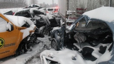 70 cars collide on 401