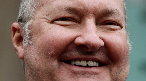 In this Feb. 23, 2011, file photo, U.S. actor Randy Quaid smiles during a news conference in Vancouver, British Columbia. Canadian immigration officials have denied U.S. actor Randy Quaid's request for permanent resident status in Canada, a Canadian government official confirmed late Saturday, Jan. 26, 2013. (AP /The Canadian Press, Darryl Dyck)