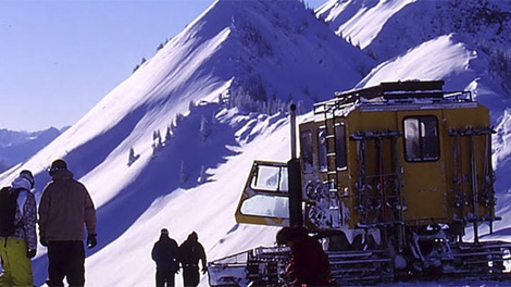 Cat-skiing at Retallack Lodge in southeastern B.C. is seen in an image on the facility's website.