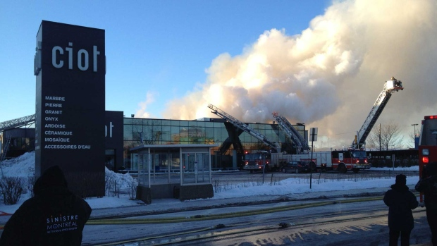 A fire at Ciot on St-Laurent Blvd. on Sunday after