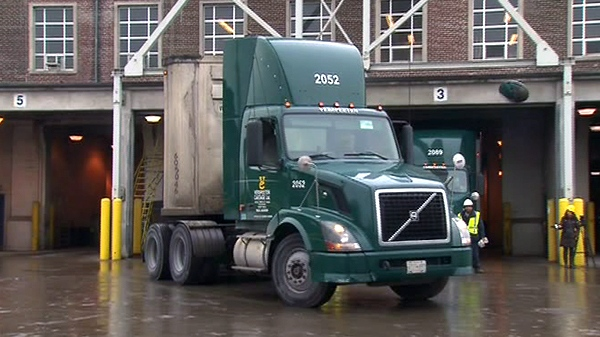 The last truckload of Toronto trash departs for a landfill in Michigan, Thursday, Dec. 30, 2010.