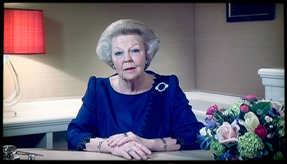 Dutch Queen Beatrix announces she will abdicate the throne April 30, 2014, during a speech prerecorded in The Hague, Netherlands, Monday, Jan. 28, 2013. (AP / NOS Television / Peter Dejong)