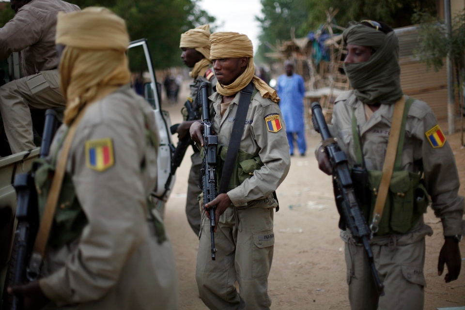 Chadian soldiers patrol the streets of Gao, Northern Mali, Monday Jan. 28, 2013. (AP / Jerome Delay)