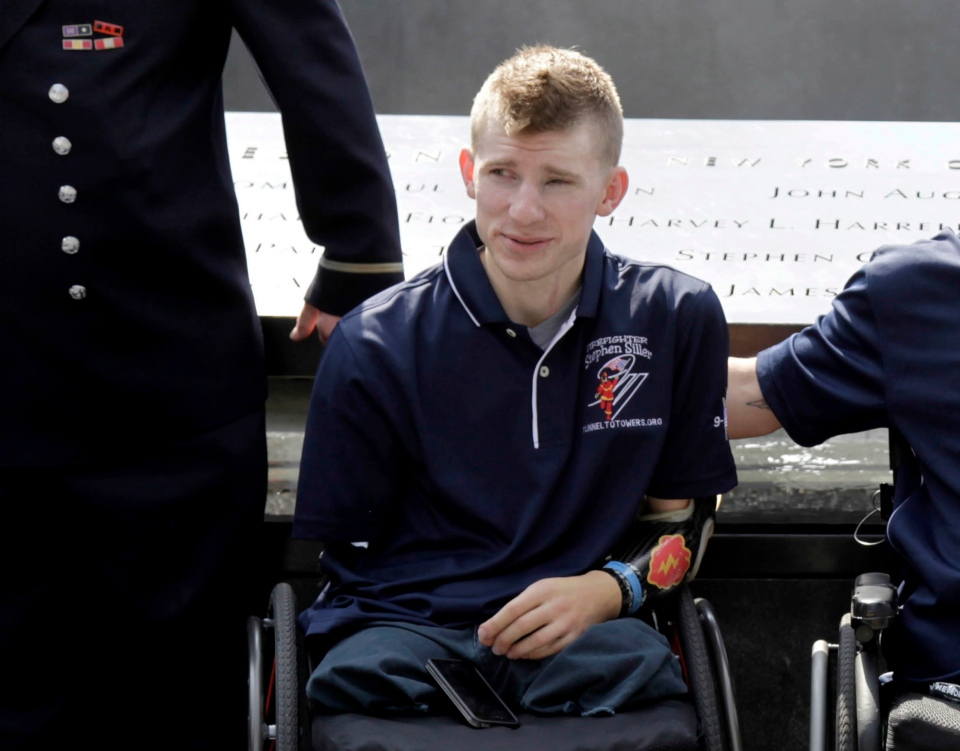 Army Sgt. Brendan Marrocco, of Staten Island, N.Y., poses for a picture at the 9/11 Memorial in this July 2012 file photo. Marrocco, 26, the first soldier to survive losing all four limbs in the Iraq war, has received a double-arm transplant in Baltimore. (AP Photo/Seth Wenig)