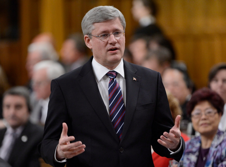 Prime Minister Stephen Harper rises during question period in the House of Commons on Parliament Hill in Ottawa, Monday, Jan 28, 2013. (Adrian Wyld / THE CANADIAN PRESS)