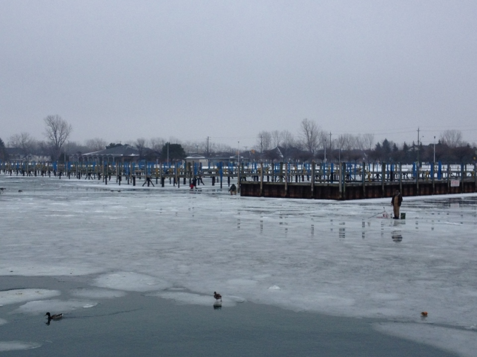 Open water and ice near Lakeview Park Marina in Windsor, Ont., Jan. 28, 2013. (Gina Chung / CTV Windsor)