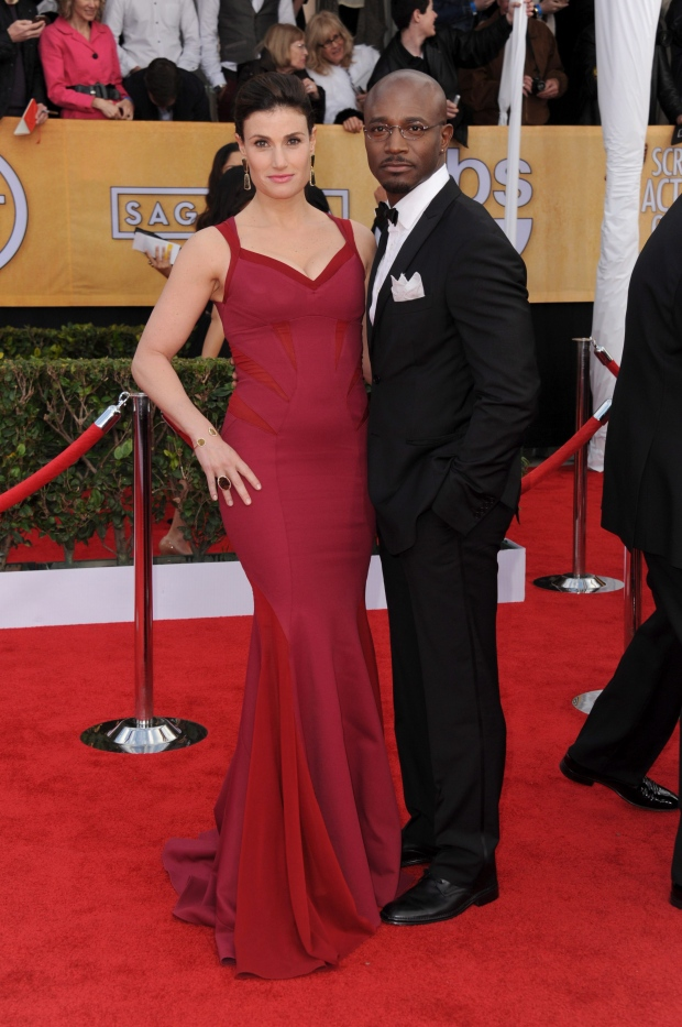 Actors Idina Menzel and Taye Diggs at SAG