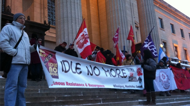 Idle No More demonstrators gather in front of the legislative building in Winnipeg on Jan. 28, 2013.