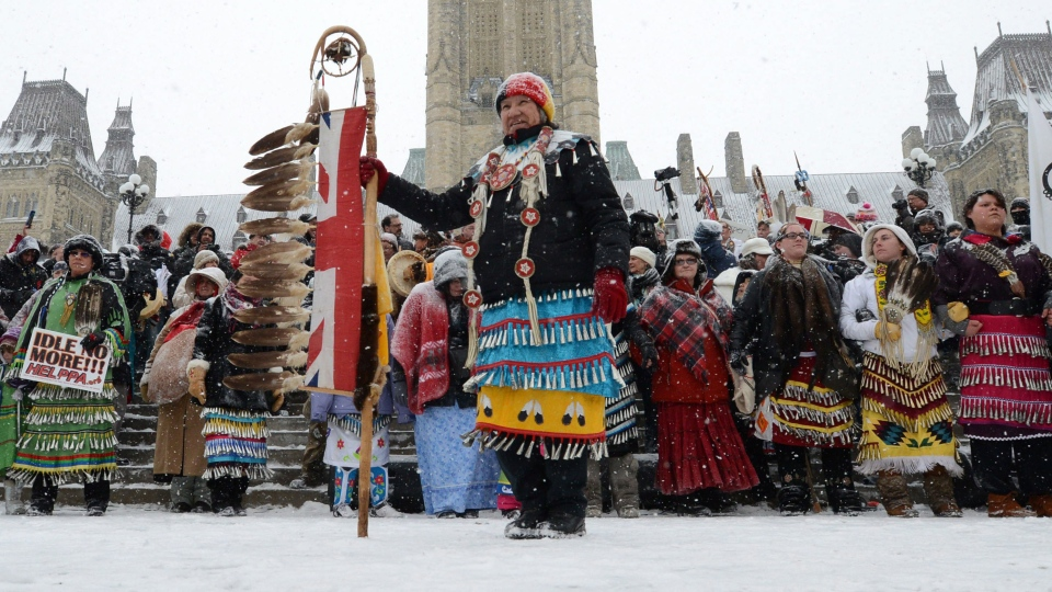 Native dancers rally during an 'Idle No More' gathering on Parliament Hill in Ottawa on Monday, Jan. 28, 2013. (Sean Kilpatrick / THE CANADIAN PRESS)