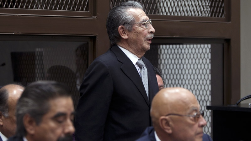 Guatemala's former dictator Jose Efrain Rios Montt, top, attends his hearing in Guatemala City, Monday, Jan. 28, 2013. (AP / Moises Castillo)