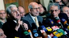 Hamdeem Sabahi speaks during press conference