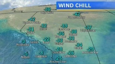 Wind chill on January 29, 2013