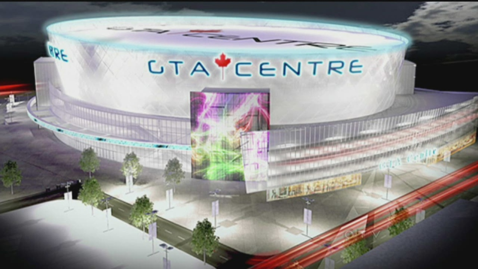 "Sketch of the ""GTA Centre"", a 20,000 seat arena planned in Markham."