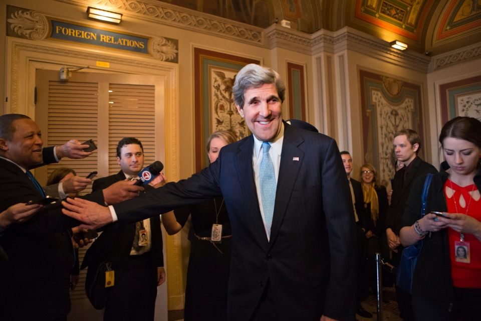 U.S. Sen. John Kerry, D-Mass., emerges after a unanimous vote by the Senate Foreign Relations Committee approving him to become America's next top diplomat, replacing Secretary of State Hillary Rodham Clinton, on Capitol Hill in Washington, Tuesday, Jan. 29, 2013. (AP / J. Scott Applewhite)
