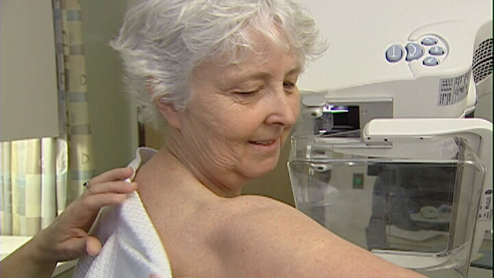 Sally MacInnis gets a mammogram at Kemptville District Hospital.