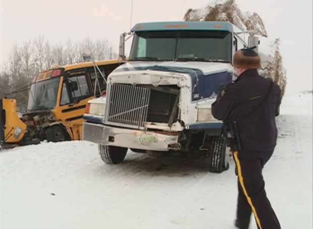 school bus and semi collide