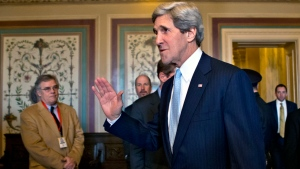 Sen. John Kerry, D-Mass., shown after a vote by the Senate Foreign Relations Committee approving him to become America's next top diplomat, replacing Secretary of State Hillary Rodham Clinton, on Capitol Hill in Washington, Tuesday, Jan. 29, 2013. (AP Photo / J. Scott Applewhite)