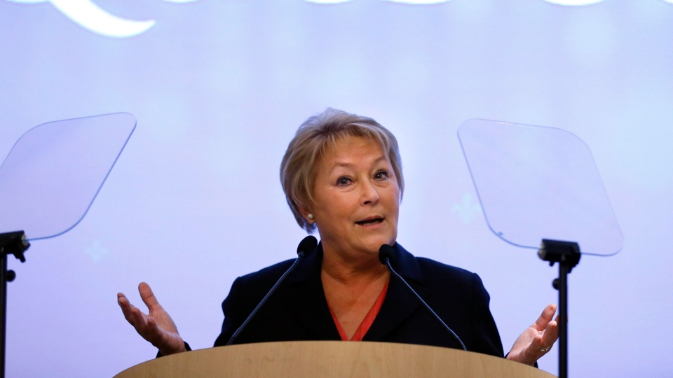 Quebec Premier Pauline Marois gives a speech to the Canadian-UK Chamber of Commerce in London on Monday, Jan. 28, 2013. (AP / Kirsty Wigglesworth)