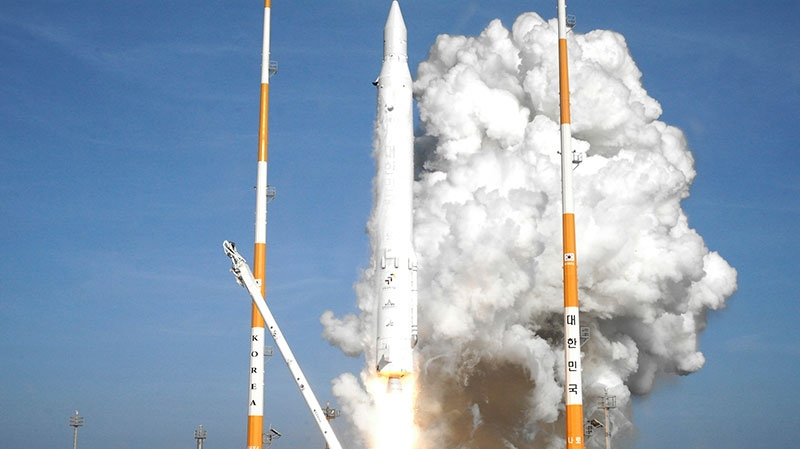 In this photo released by Korea Aerospace Research Institute, South Korea's rocket lifts off from its launch pad at the Naro Space Center in Goheung, South Korea, Wednesday, Jan. 30, 2013. (AP / Korea Aerospace Research Institute)