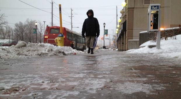 Freezing rain could leave area roadways slick.