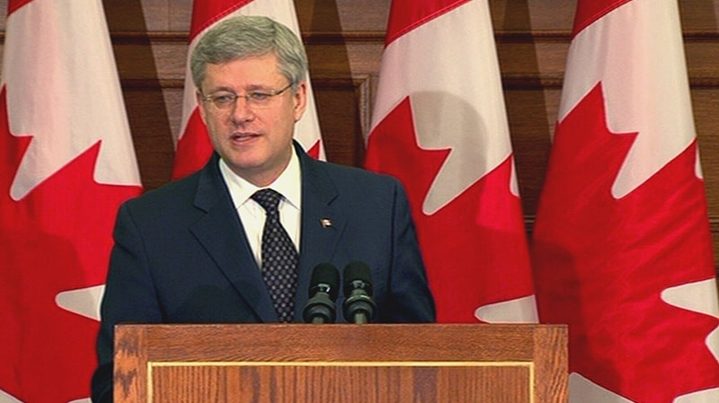 Prime Minister Stephen Harper addresses the Conservative caucus, Wednesday, Jan. 30, 2013.