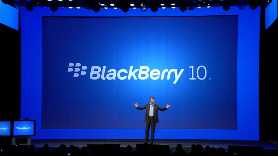 Thorsten Heins, president and CEO of Research In Motion, unveils the new BlackBerry 10 operating system and smartphones in New York City, Wednesday, Jan. 30, 2013.