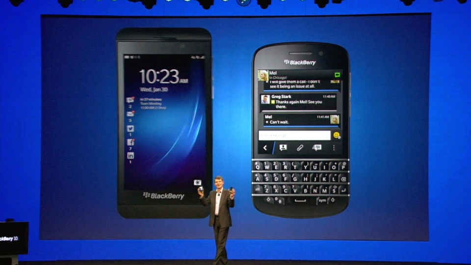 BlackBerry unveils two new devices, the Z10 (left) and Q10 (right), during a world-wide event, Wednesday, Jan. 30, 2013.
