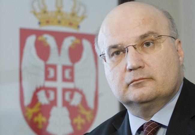 Serbian Ambassador to Canada Dusan Batakovic talks with the media in Ottawa on Tuesday, March 18, 2008. (Tom Hanson / THE CANADIAN PRESS)