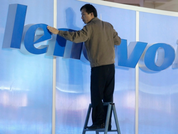 File photo of a Lenovo sign in Beijing.