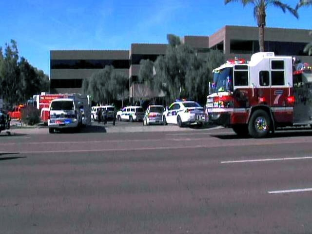 This frame grab shows the scene at a Phoenix office complex where police say a gunman shot at least three people on Jan. 30, 2013. (abc15.com)