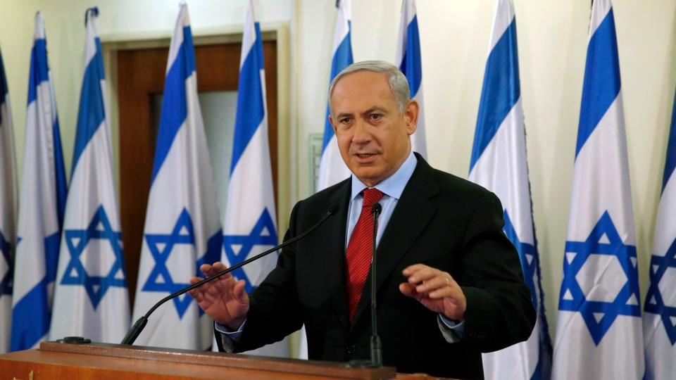 Israel's Prime Minister Benjamin Netanyahu delivers a statement at his office in Jerusalem, Wednesday, Jan. 23, 2013. (AP Photo / Darren Whiteside, Pool)