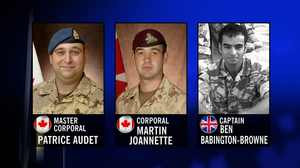 The victims of a fatal 2009 helicopter crash in Afghanistan, Canadians Mater Corporal Patrice Audet, Corporal Martin Joannette and British Captain Ben Babington-Browne.