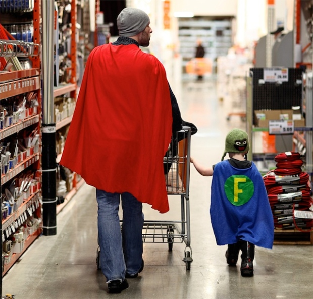 Superhero dad son hardware store