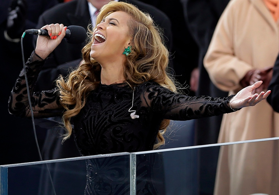Beyonce sings the national anthem at the ceremonial swearing-in at the U.S. Capitol during the 57th Presidential Inauguration in Washington, Jan. 21, 2013. (AP / Carolyn Kaster)